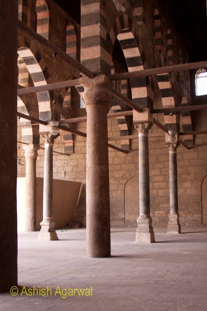 Saladin Citadel in Cairo - Hypostyle corridor in the Nasir mosque with wonderful pillars