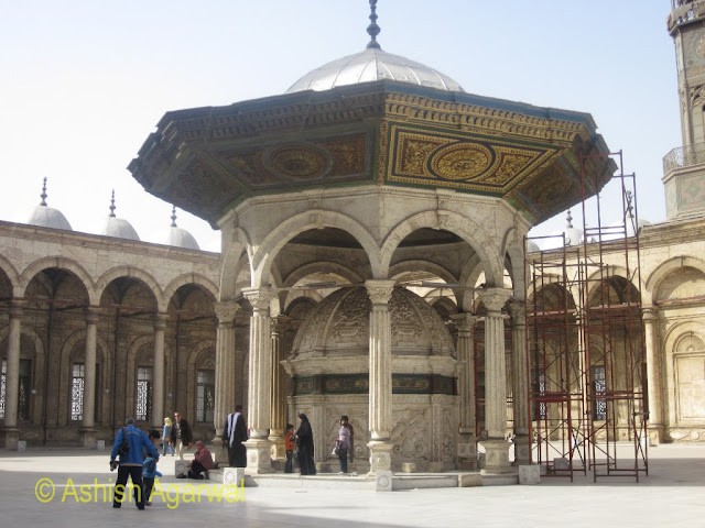 Saladin Citadel in Cairo - the center point of the open courtyard of the Mohammed Ali Mosque