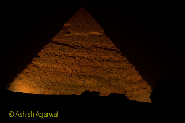 Cairo Pyramids - sound and light show in the evening, with the help of lasers