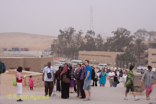 Cairo Pyramids - Tourists from different nationalities at the Great Pyramid in Giza