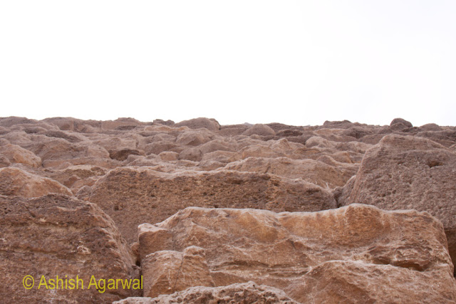 Cairo Pyramids - View of the structure of the Great Pyramid in Giza, the rough stones