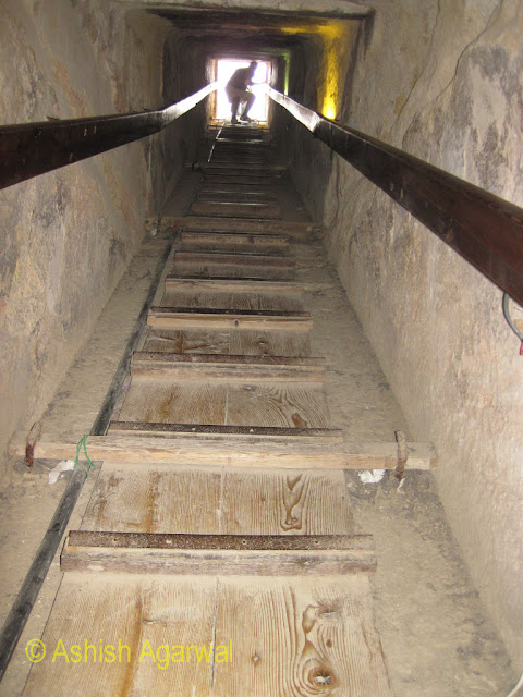 Cairo Pyramids - The path leading to an underground burial chamber next to the Great Pyramid