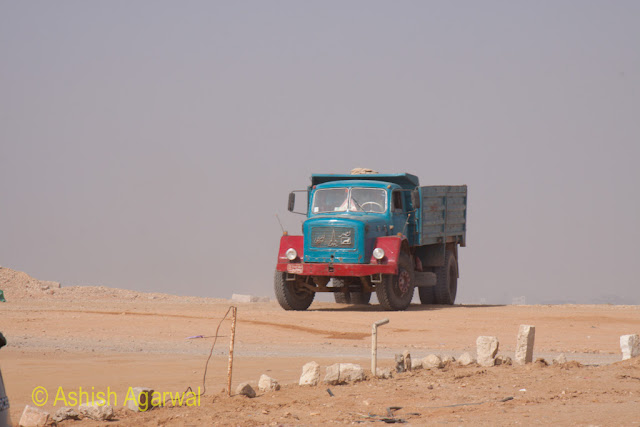Cairo Pyramids - A truck near the Panorama point at the Pyramids in Giza, stock photo