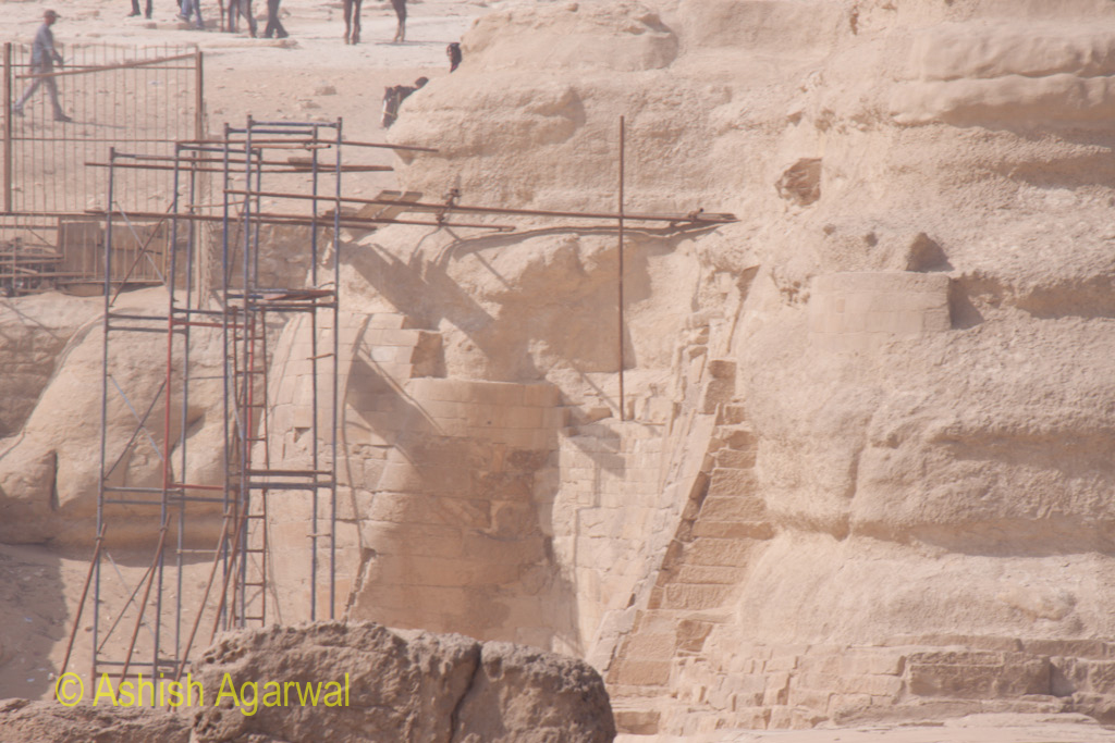 Scaffolding at the base of The Great Sphinx, for support and for renovation