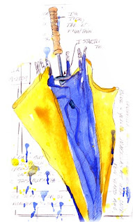 Umbrella, watercolor sketch - Nancy Van Blaricom