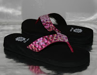 Yellow Box Pink Sequin Flip Flops