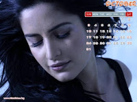 Katrina Kaif 2010 October Calendar Wallpaper