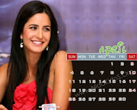 Katrina Kaif 2010 Desktop April Calendar