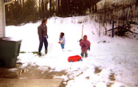 kids enjoying snow game on new year