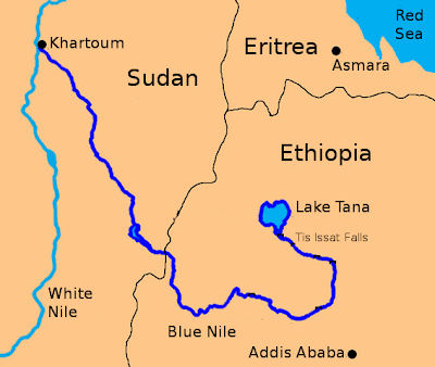 aswan high dam map. Map of the Blue Nile