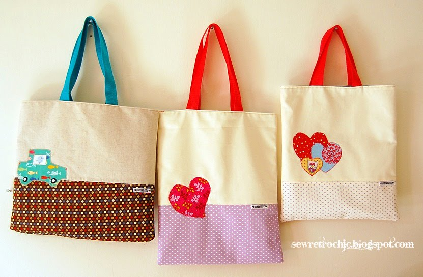 sew retro chic three little bags three times the happiness