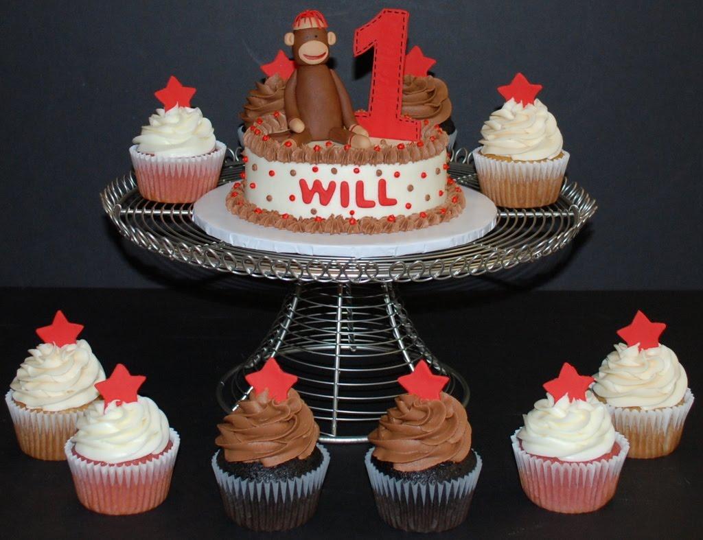 The Bakery Next Door Sock Monkey Birthday Cake Cupcakes