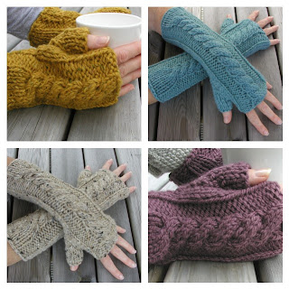 these cable fingerless gloves are knitted flat on straight needles and