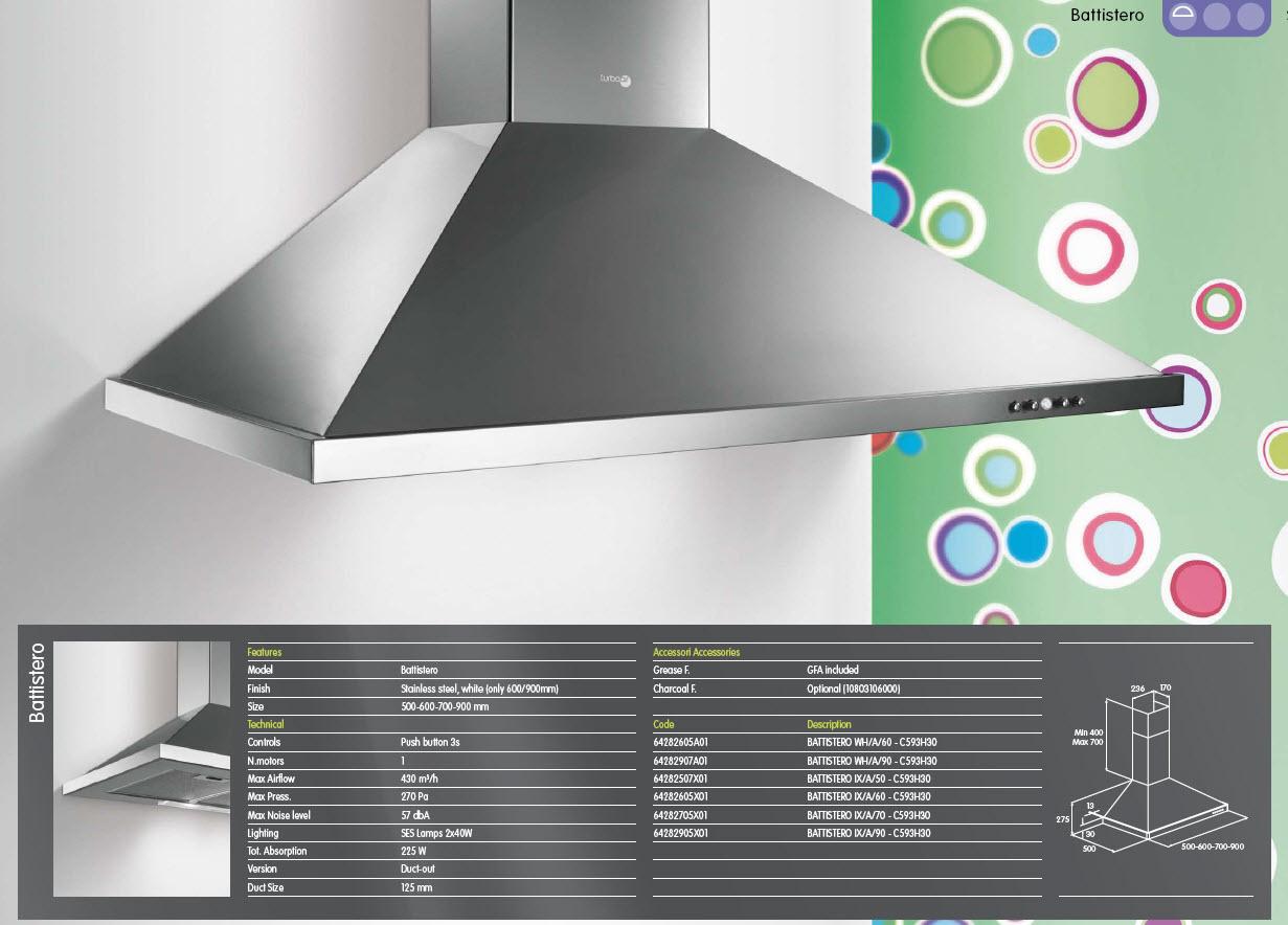 elica 50mm slimline chimney extractor hood kitchen