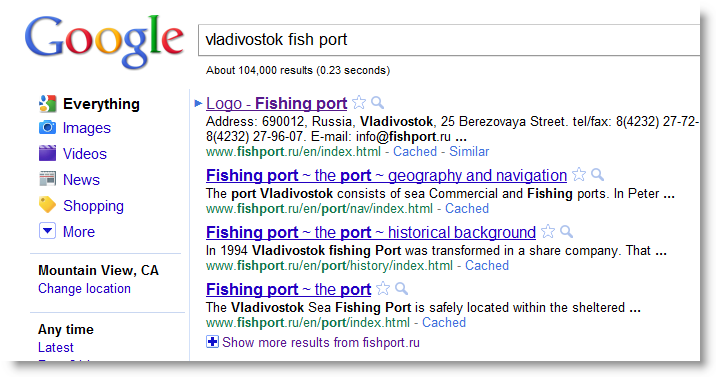 In this case, since we're interested in the Vladivostok fish tonnage through ...