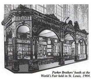 Gravure du stand de Parker Brothers à Saint Louis en 1904