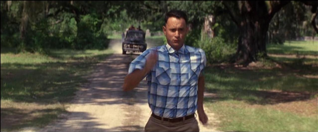 forrest gump running. kept on going.
