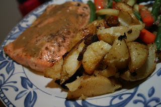 roast potato, food, rainbow trout