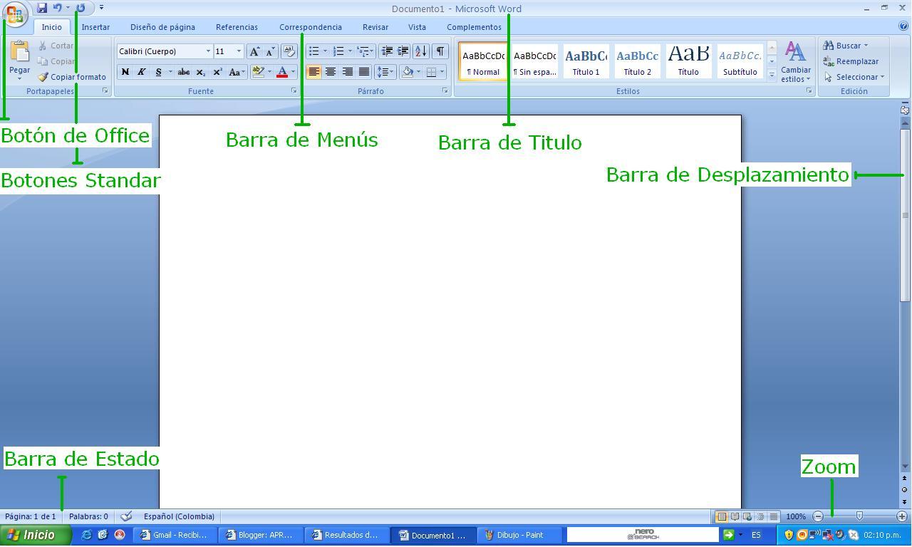 barra de titulo boton office botones standar barra de menus barras de