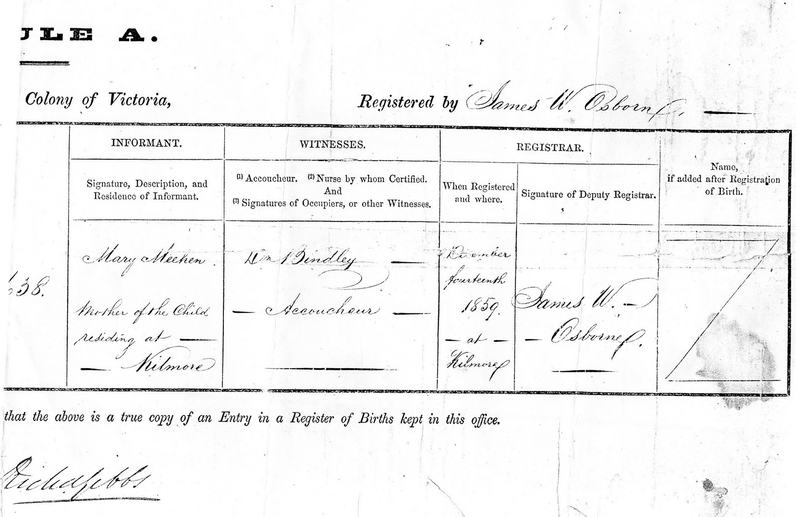 ... of Burramine and Boosey: Mary Honora Meehan's birth certificate