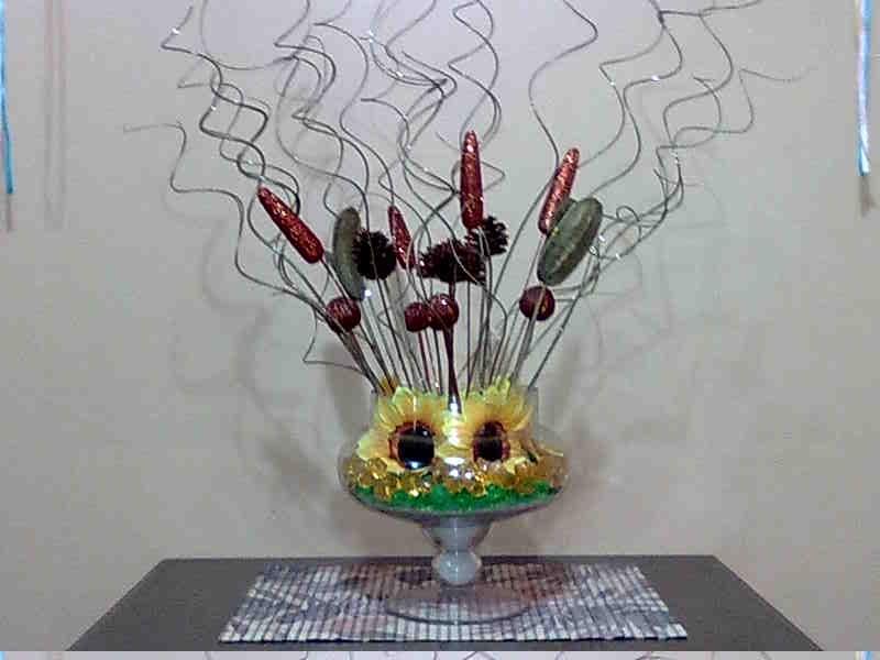 Arreglos florales e artificiales centro de mesa girasol for Centros de mesa artificiales