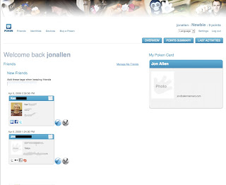 Screen shot of uploading contacts to Poken website