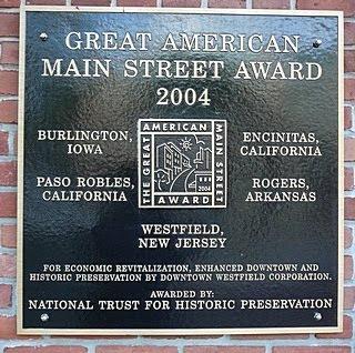 Great American Main Street award for Westfield NJ