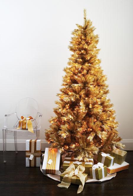 Decoracion en dorado platas para navidad clasico - Arbol navidad dorado ...