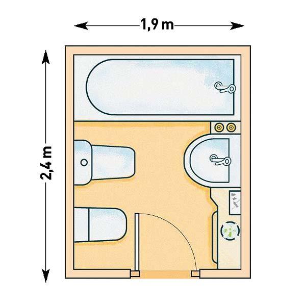 Baños Modernos Rectangulares:Modernos baños pequeños que no llegan a 5 m2 con planos