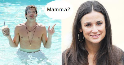 Demi moore and ashton kutcher in pool