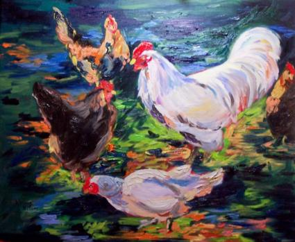 Chicken art Wordless Chicken Tuesday