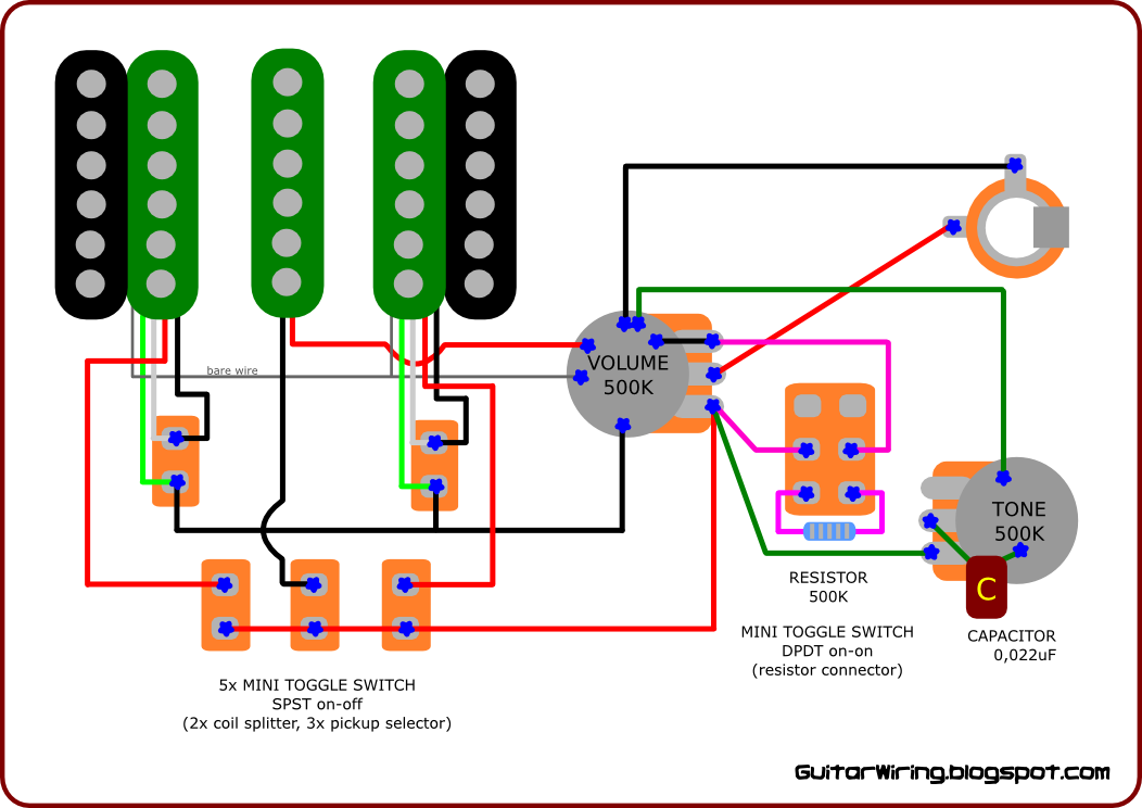 The guitar wiring blog diagrams and tips custom wiring diagram there are two mini spst toggle switches for coil splitting one for every humbucker with this function you can turn your double coil pickup into the swarovskicordoba Gallery