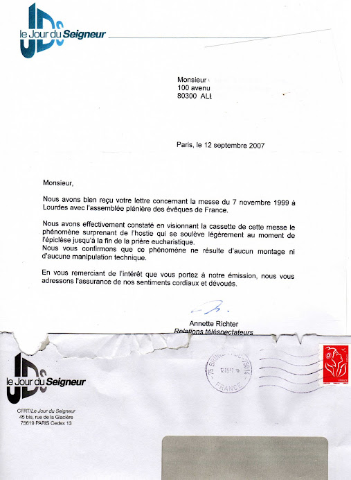 DOCUMENT 1 :  Courrier officiel du CFRT (Comité Français de Radio Télévision) du 12/09/2007 :
