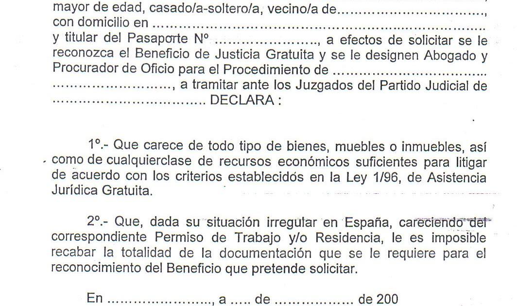 INMIGRACIÓN UNA OPORTUNIDAD: MODELO DE DECLARACIÓN JURADA , PARA ...