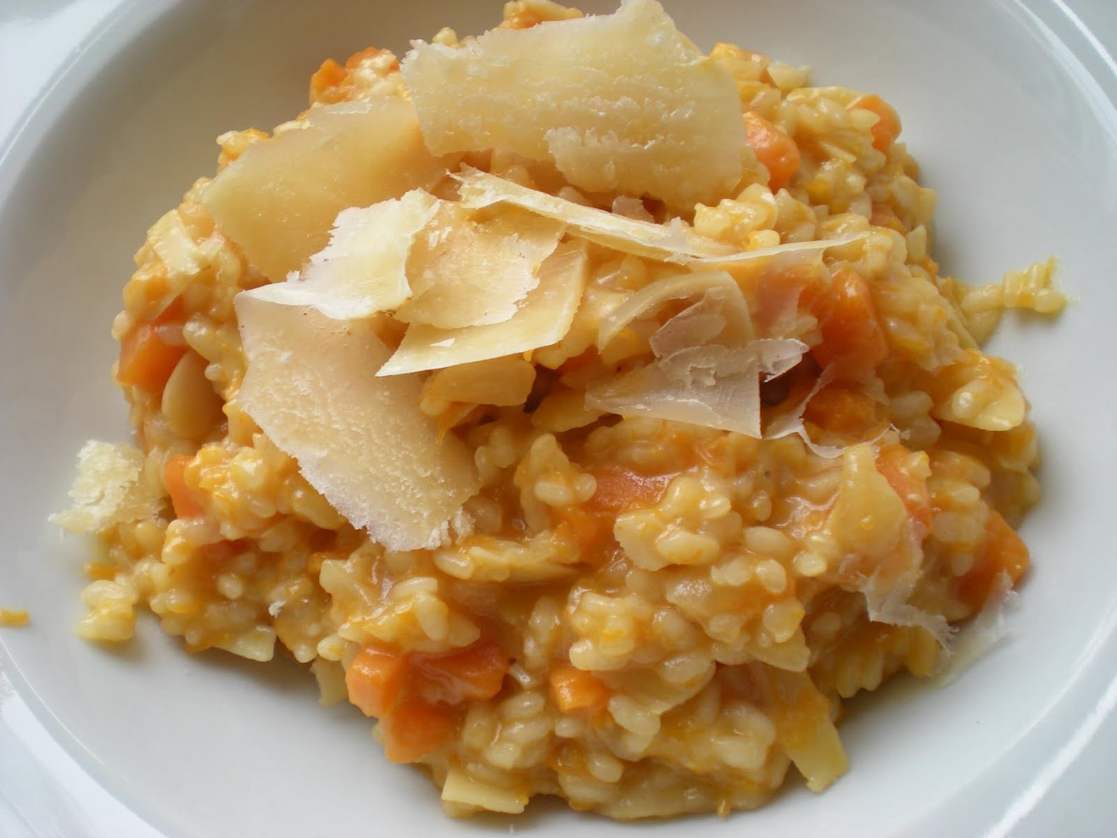 Recetas del Chef.- Risotto de calabaza con aceite de nueces y teja de parmesano