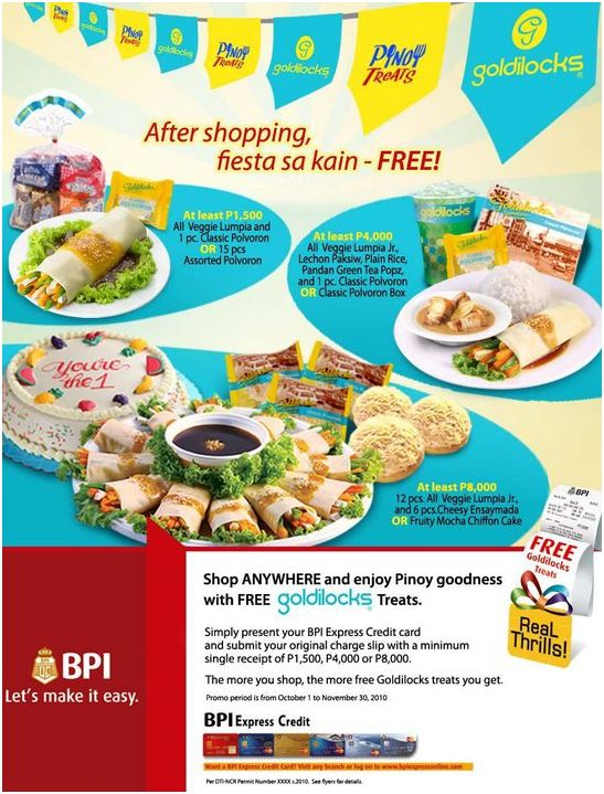 BPI Express Credit Card and Goldilocks
