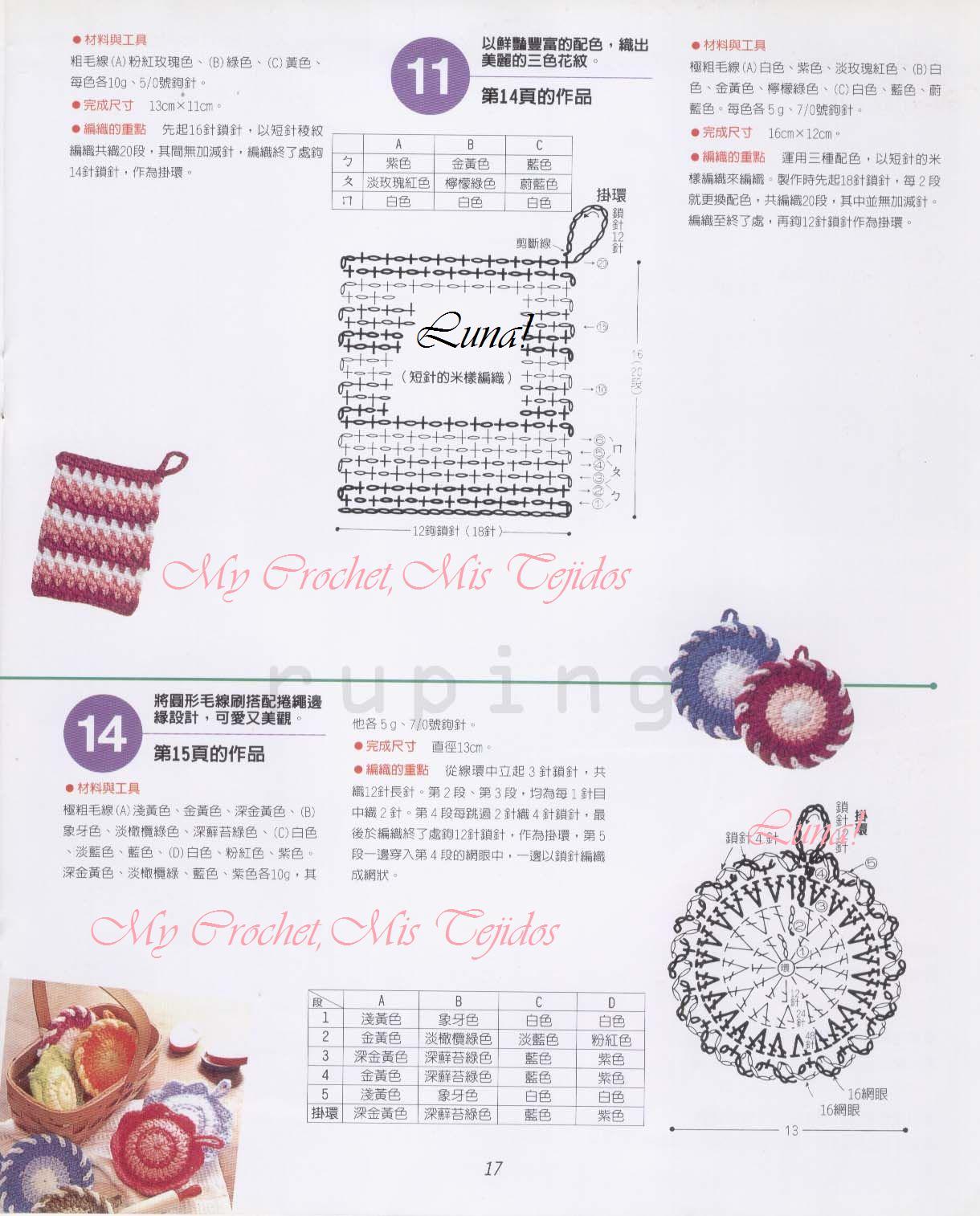 My Crochet , Mis Tejidos by Luna: Trapitos y Mini Agarraderas para ...