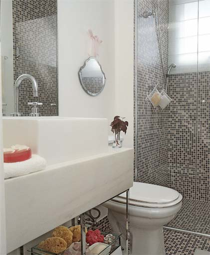 Tudo Fácil e Rápido Banheiros simples e lindos -> Banheiro Pequeno Com Pastilhas Adesivas