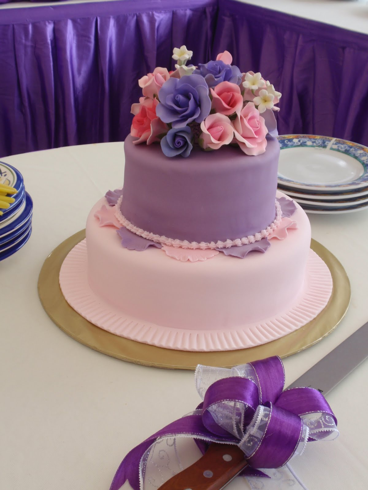 pink and purple fondant cakes