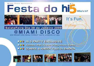 Festa do Hi5, Londres no Miami Disco