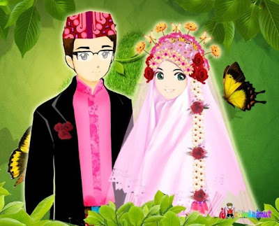 kartun animasi lucu pernikahan islami