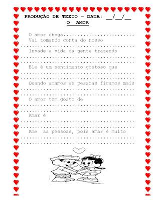 textos de amor. PRODUÇÃO DE TEXTO - AMOR