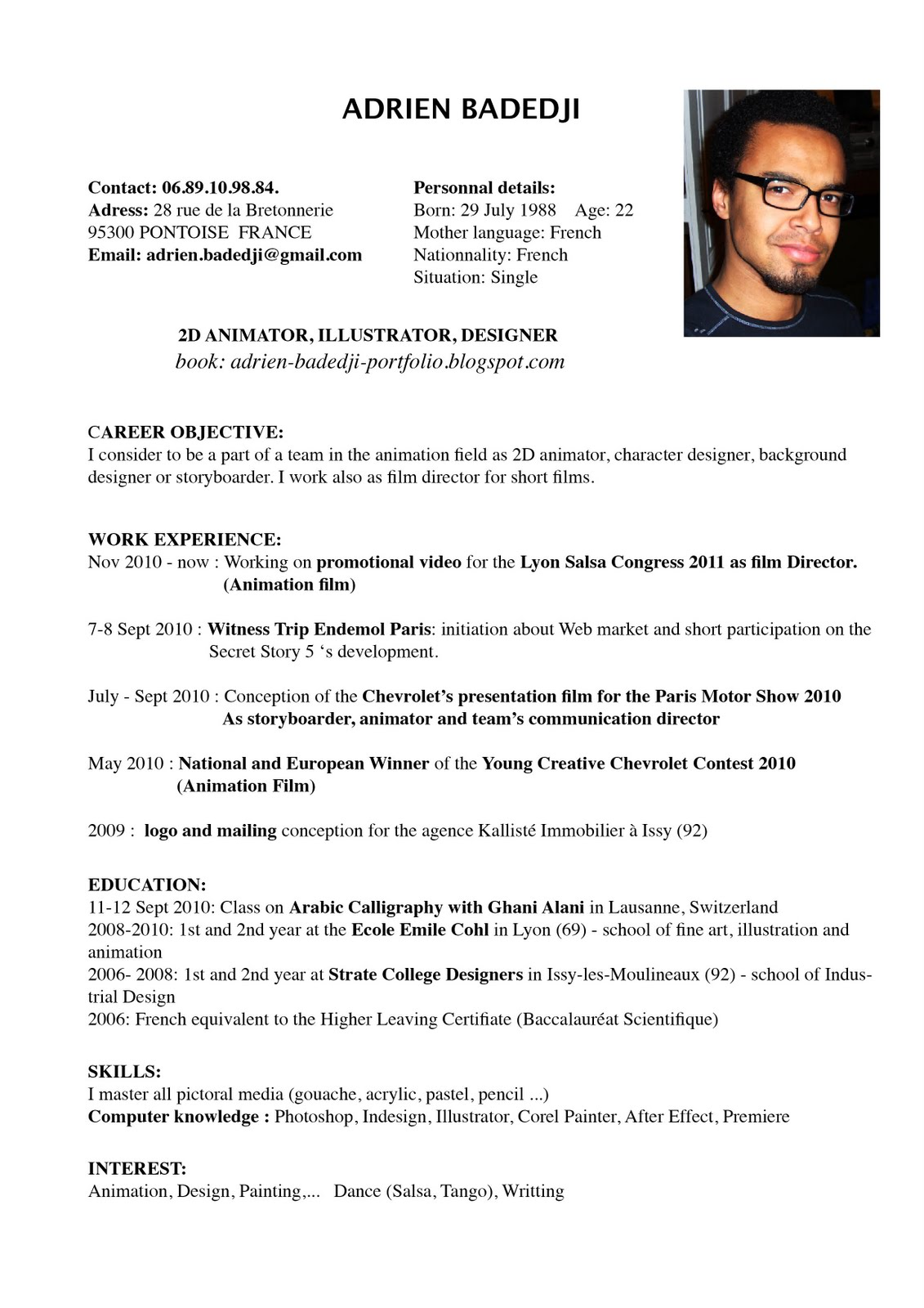 curriculum vitae in english examples - Template