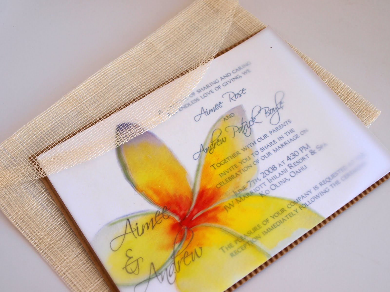 Hawaiian Wedding Invitation