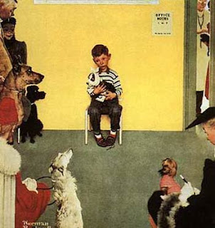 Norman Rockwell painting boy at veterinarian sitting alone