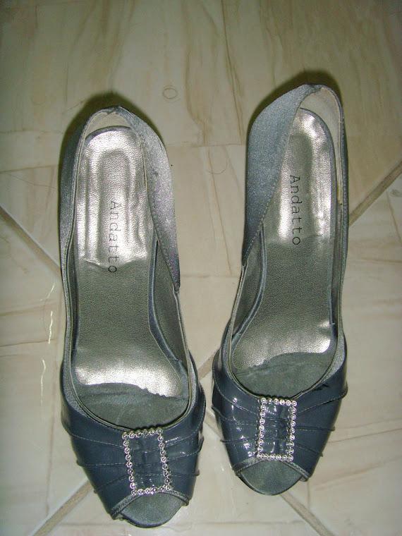 Sapato Cinza com Lateral Prata