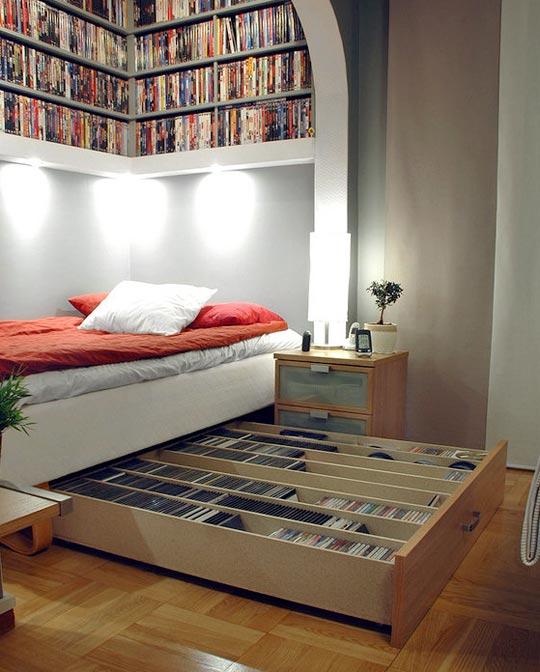bibliothèques originales : rangement sous le lit