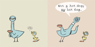 booksforkids-reviews.com excerpt from Pigeon Finds A Hot Dog!  by Mo Willems