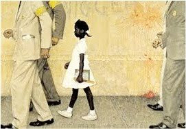Picture of Ruby Bridges being escorted to school