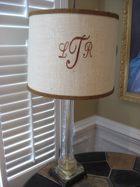 Monograms and lampshades southern hospitality it sure is fun to have a friend who has her own monogram businesswith a big monogram machine that will do all of this my friend from church lynn mozeypictures Image collections